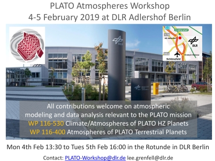 PLATO Atmosphere Workshop,  4-5 Feb 2019, DLR Adlershof (Berlin)