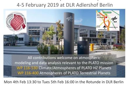 PLATO Atmosphere Workshop,  4-5 Feb 2019, DLR Adlershof(Berlin)